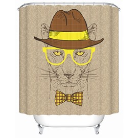 Clip Art Fashion Leopard with Yellow Glasses and Hatter Print 3D Bathroom Shower Curtain
