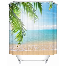 3D Coconut Leaves and Beach Scenery Printed Polyester Light Blue Shower Curtain