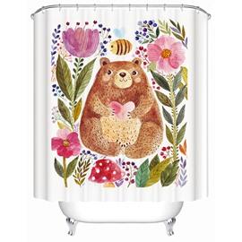 Cute Cartoon Bear and Flowers 3D Printing Bathroom Shower Curtain