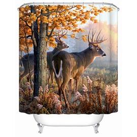 Couple Elk Standing beside the Tree Print 3D Bathroom Shower Curtain