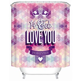 Fashion Colored Love You Print Bathroom Shower Curtain