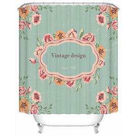 Simple Countryside Style Vintage Design Flowers Print 3D Bathroom Shower Curtain