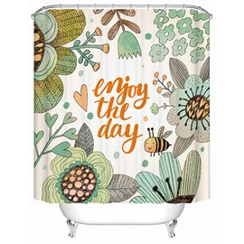 Lively Flowers and Bee Scenery Print 3D Bathroom Shower Curtain
