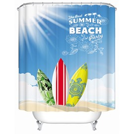 3D Skateboards and Sunshine Printed Polyester Light Blue Shower Curtain