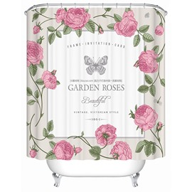 Pink Garden Roses and Butterfly Print 3D Bathroom Shower Curtain