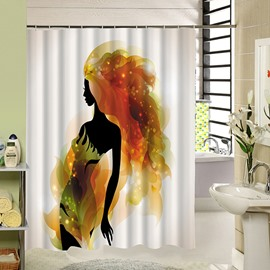 Fashion Beauty Silhouette Print 3D Bathroom Shower Curtain