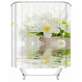 White Tulip over the Water Print 3D Bathroom Shower Curtain