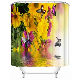 Beautiful Butterfly and Sun Flower over the Water Printing 3D Shower Curtain