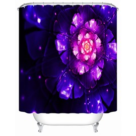 3D Blooming Flower Printed Polyester Purple Shower Curtain