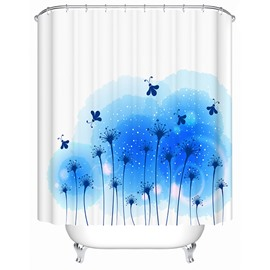 Romantic Blue Flowers Print Bathroom Shower Curtain