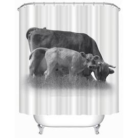 Calf and Cow Print 3D Bathroom Shower Curtain