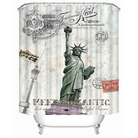 The Statue of Liberty Print 3D Bathroom Shower Curtain