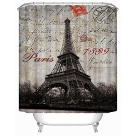 The Eiffel Tower in 1889 Print 3D Bathroom Shower Curtain