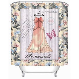 Sexy Pink Nightdress Print 3D Bathroom Shower Curtain