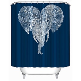 Couple Lovely Elephants Nose Intertwined Print 3D Bathroom Shower Curtain