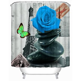Impressionism Vintage Paris Blue Rose Print 3D Bathroom Shower Curtain