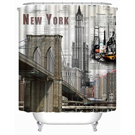 New York City Views Print 3D Bathroom Shower Curtain
