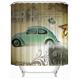 Classic Fashioned Blue Car Print 3D Bathroom Shower Curtain