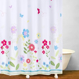 Colored Flowers in the Garden Printing Bathroom Shower Curtain