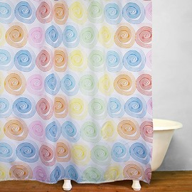 Colorful Swirls Printing Bathroom Decor Polyester Shower Curtain