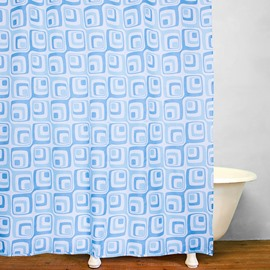 Bathroom Decor Blue Squares Print Shower Curtain
