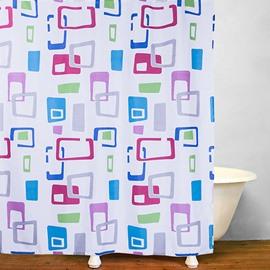 Colored Geometric Patterns Bathroom Shower Curtain