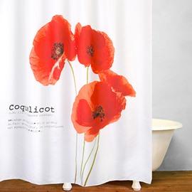 Designer Watercolor Red Flowers Bathroom Shower Curtain