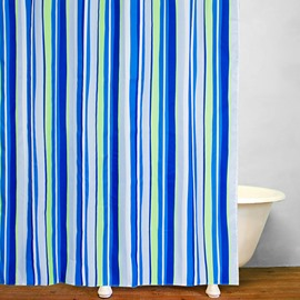Bathroom Decor Blue and Green Stripes Shower Curtain