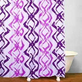 Modern Style Purple Wavy Stripes Waterproof Shower Curtain