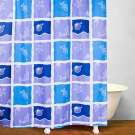 Stick Figures Dolphin in the Square Pattern Polyester Shower Curtain