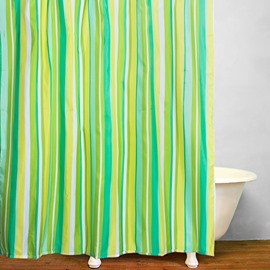 Modern Green Stripes Reactive print Waterproof Shower Curtain