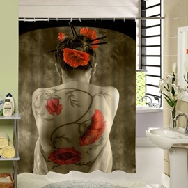 A Girl with Red Flowers Tattoos in Her Back 3D Bathroom Decor Shower Curtain