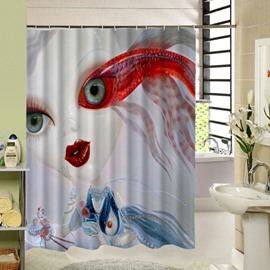 Freaky Cartoon Goldfish Girl Printing 3D Shower Curtain