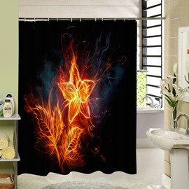 Beautiful Fire Flower Printing Waterproof 3D Shower Curtain