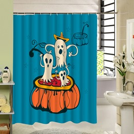 Cute Ghost Standing on Pumpkin Halloween Theme 3D Printing Shower Curtain