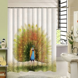 3D Flaunting Peacock Printed Polyester White Shower Curtain