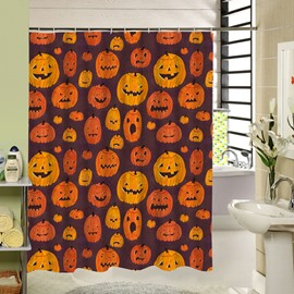 Various Hand Painted Pumpkin Lanterns Printing Bathroom Shower Curtain