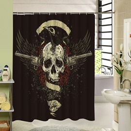 3D Eagle and Skull Printed Polyester Black Shower Curtain