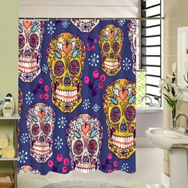 3D Colorful Skulls Printed Polyester Blue Shower Curtain