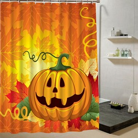 Cartoon Pumpkin Lanterns Halloween Theme 3D Printing Shower Curtain