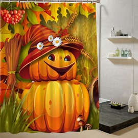 Weird Pumpkin-Man Smiling Halloween Theme 3D Printing Shower Curtain