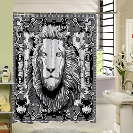 Black and White Lion King Printing 3D Waterproof Polyester Shower Curtain