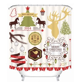 Clip Art Christmas Theme Decors Printing Bathroom 3D Shower Curtain