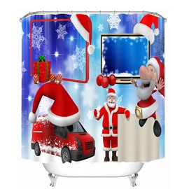Cute Cartoon Santa and Red Car Printing Printing Christmas Theme Bathroom 3D Shower Curtain