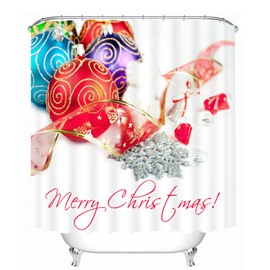 Colorful Christmas Balls and Red Ribbon Printing Christmas Theme 3D Shower Curtain