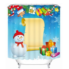 Cartoon Snowman with Long Gift List Printing Christmas Theme 3D Shower Curtain