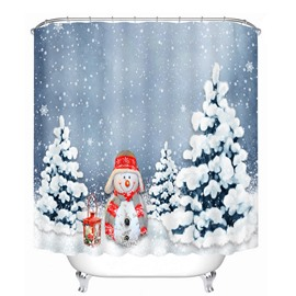 Lovely Snowman Standing near the Pine Printing Christmas Theme 3D Shower Curtain