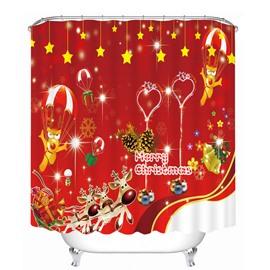 Cartoon Dog Merry Christmas Printing Bathroom Decor 3D Shower Curtain