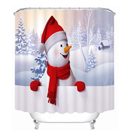 Cute Snowman with Red Scarf and Gloves Smiling Printing Christmas Theme 3D Shower Curtain