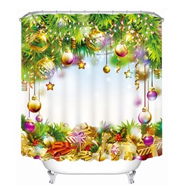 Gifts Under the Christmas Tree with Decors Printing Christmas Theme 3D Shower Curtain